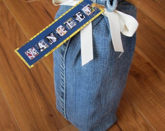 GIFT BAG for up to 8 small blocks- upcycled JEANS