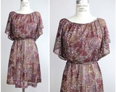 flutter sleeve mini dress | vintage floral print hippie dress | 1970s sheer mini dress | XS