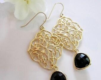 Gold Oriental Filigree Earrings, Black Teardrop Dangle, Ebony Glass,  Gold Flower Design, Wedding Jewelry