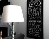 Housewarming Gift Family Words stops destination art wall decor 30x60  inch READY TO HANG canvas