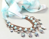 Abalone Statement Necklace, Multi Strand, Ribbon Necklace, Summer Necklace, OOAK