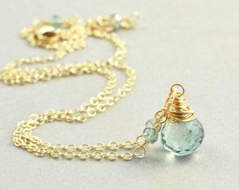 Green Quartz Necklace, Mint Green Necklace, Handmade