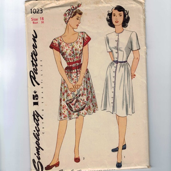 1940s Vintage Sewing Pattern Simplicity 1023 Gathered Skirt Scoop Neck Dress Size 18 Bust 36 1943 40s UNCUT