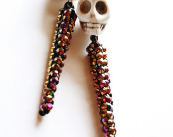 Extra Large Skull Spike Earrings in Bronze Bling