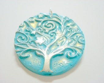 Light Turquoise and Silver Tree of Life Handmade Polymer Clay Pendant