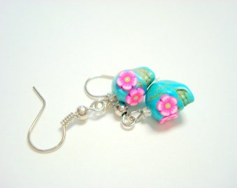 Tiny Bright Pink Flower Eyes Turquoise Day of the Dead Sugar Skull Earrings