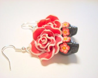 Black and Red Day of the Dead Roses and Sugar Skull Earrings