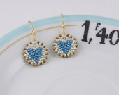 Beadwoven Heart Mandala Earrings ( French blue / ivory ) / Sweetheart Gift for Her - - - gold-filled earrings