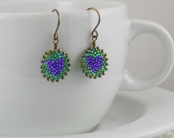 Beadwoven Heart Mandala Earrings ( purple / green ) - - - antique brass earrings / Simple/ Small/ Holiday Gift for Her/ Unique/ Vibrant