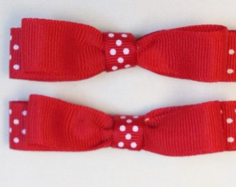 Girls Red Hair Bows Red Polka Dot Bows Red And White Bows Barrettes And Clips Hair Accessories