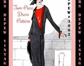 Vintage Sewing Pattern Instructions 1920's Flapper Easy Two- Piece Dress Ebook PDF Depew 3002 -INSTANT DOWNLOAD-