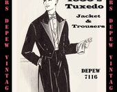 Menswear Vintage Sewing Pattern Men's Formal Tuxedo Jacket and Trousers in Any Size - PLUS Size Included -Depew 7116 -INSTANT DOWNLOAD-