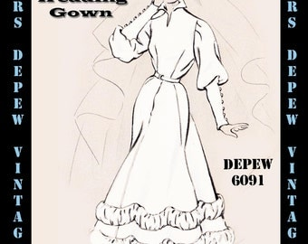 Vintage Sewing Pattern 1950's Shirred Wedding Gown in Any Size - PLUS Size Included - Depew 6091 -INSTANT DOWNLOAD-