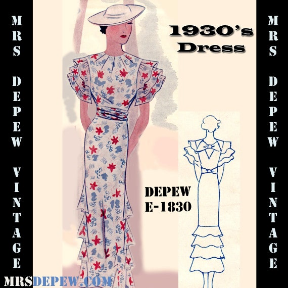 1930s Sewing Patterns- Dresses, Pants, Tops 1930s Dress with Ruffles Any Size- Plus Size Included- Depew E-1830 Draft at Home Pattern -INSTANT DOWNLOAD- $8.50 AT vintagedancer.com