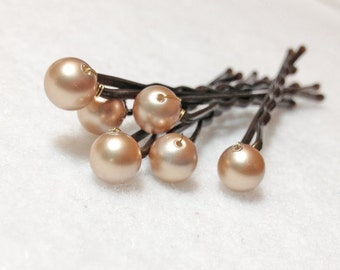 Golden Pearl Hair Pins Swarovski (set of 6) Champagne Gold Wedding Accessory