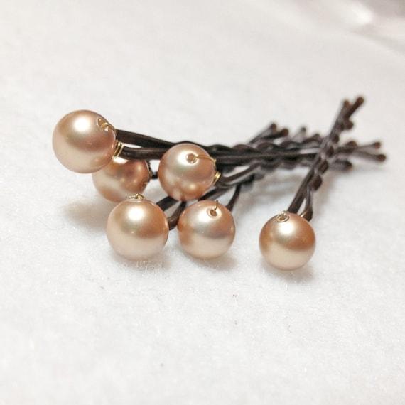 Golden Pearl Hair Pins Swarovski (set of 6) Champagne Gold Wedding Accessory