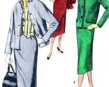 1950s Womens Suit Pattern Simplicity 1272 Sheath Skirt Jacket Weskit Vest Womens Vintage Sewing Pattern Bust 32