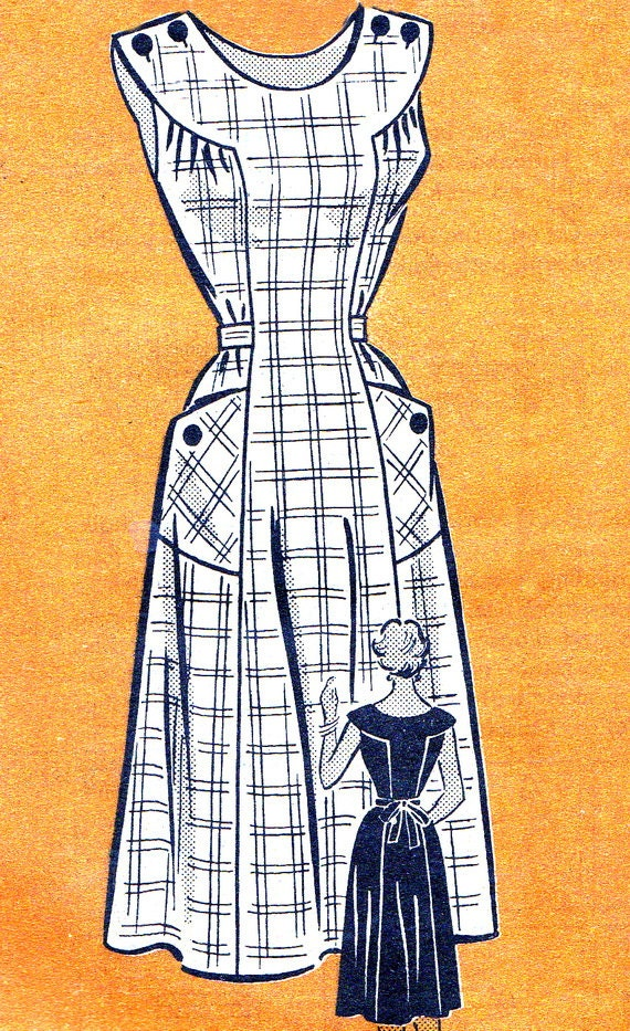 1950s Dress Pattern Anne Adams 4523 Womens Yoked Sundress