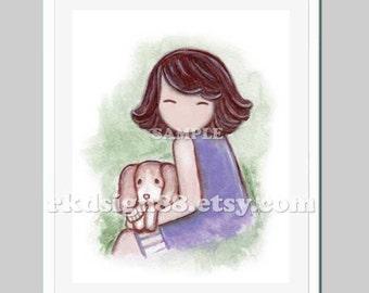 Baby girl nursery art print kids wall art childrens decor Girl and dog beagle puppies pet - I Will Keep You - 8 x 10 print