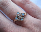 RESERVED Antique 14kt Opal and Pearl Ring - Victorian 14kt Gold - Antique Engagement Ring