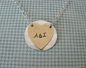 personalized silver and gold hanging heart necklace