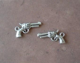 20 Tibetan Silver Revolver Gun Pendant Charms