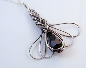 Oxidized Sterling Silver Wire Wrapped Chinese Knot and Crystal Pendant Necklace