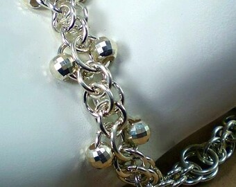 Sterling Silver Chain And Mirror Beads Bracelet -Argentium Sterling Silver - Chainmaille - Anniversary