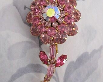 vintage prong set rhinestone pink flower brooch signed Judy Lee - j5092