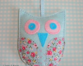 Blue Felt and Floral Fabric Hanging Owl Decoration.