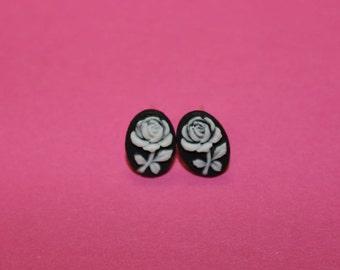Tiny White Flower Cameo Earrings