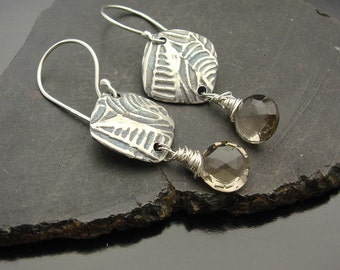 Earrings, silver,  topaz, artisan,  handmade , Tribute - Sterling Silver and Light Smokey Quartz Earrings