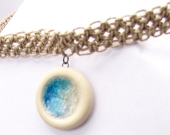 Sky Blue Fused Glass Pendant on Wide Hemp Necklace