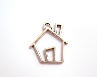 1pc - Matte Silver plated My HOME, house pendant-50x46mm-(404-001SP)