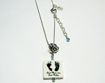Precious Footprints Photo Pendant Keepsake Necklace with Birthstone Crystals - P3fN