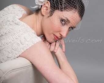 Birdcage Veil With Flower, Wedding Veil, Wedge Birdcage Veil, Ivory And Champagne Rose Fascinator, Wedding Veil Set