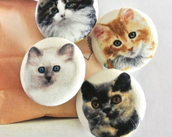 Large Kawaii Brown White Black Cat Kitten Animal Fabric Covered Buttons, Cats Kitten Animal Fridge Magnets, Cat Buttons, 1.25 Inches 4's