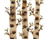 Mossy Birch Trees Print, woodland art, nature illustration, watercolor reproduction, giclee print