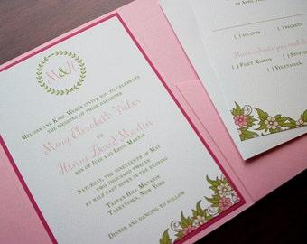 """Floral Monogram Wedding Invitation Sample - """"Brookfield"""""""