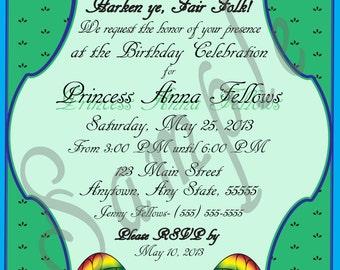 "Forest/Garden Fairy or Pixie Themed Birthday Invitation- Garden Party Fairy ""Hollow Green,"" no gender/age- Digital"