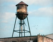 Industrial Brooklyn Photography, Water Tower, New York Urban Art Color Photograph, Square Format Fine Art Print, Free Shipping
