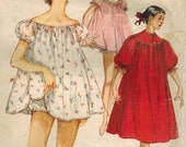 1950s Simplicity 1102 Vintage Sewing Pattern Misses Nightgown, Shortie Nightgown, and Panties Size 14 Bust 32