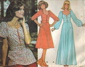 1970s McCall's 5851 UNCUT Vintage Sewing Pattern Misses Dress or Top Size 16 Bust 38