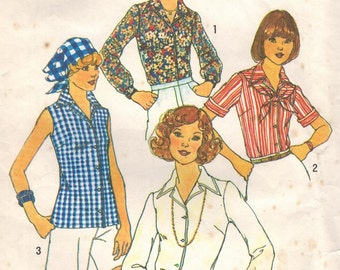 1970s Simplicity 7353 Vintage Sewing Pattern Misses Blouse and Scarf Size 14 Bust 36