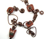 Copper & Clay Cat Double Heart Bracelet