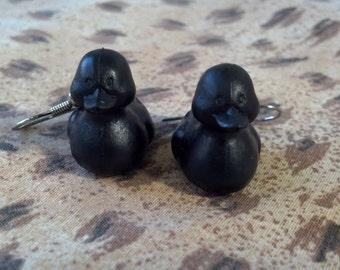 Black Rubber Duckie Earrings