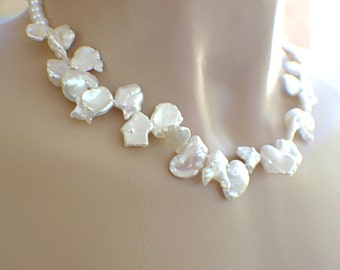 Flower garland keishi petal freshwater pearl necklace white wedding bridal