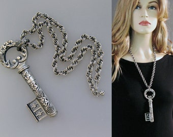 Vintage 60s Necklace Goldette Large Silver Key Etched Ivy Design