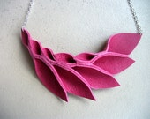Petal Collection: Hot Pink Leather Petals Necklace