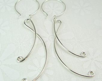LYRIC EARRINGS, sterling silver long ribbon dangle earrings